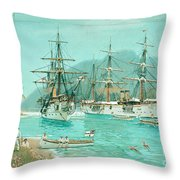 Cruiser And Gunboat Hoist On Ponape The German Flag Throw Pillow