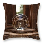 Crystal Ball In Wooden Lanterns Throw Pillow