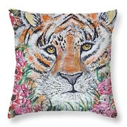 Cuddles The Tiger Small  Throw Pillow