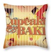 Cupcake Bake 1958 Throw Pillow
