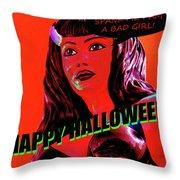 Custom Halloween Card She-devil Throw Pillow