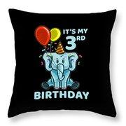 Cute 3rd Third Birthday Elephant Throw Pillow