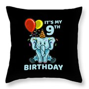 Cute 9th Ninth Birthday Elephant Throw Pillow