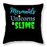 Cute Mermicorn Unicorn Mermaid Slime Birthday Throw Pillow