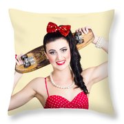 Cute Pinup Skater Girl In Punk Glam Fashion Throw Pillow