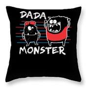 Dada Monster Cute Monster Cartoon For Kids And Dad Dark Throw Pillow