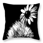 Daisy And Thistle Black And White Throw Pillow