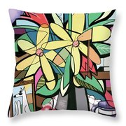 Daisy's And Tulips Throw Pillow by Anthony Falbo