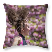 Dancing And Cherry Blossoms Throw Pillow