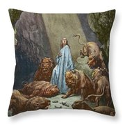 Daniel In The Den Of Lions  Engraving By Gustave Dore Throw Pillow