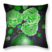 Dark And Delicious Roses  In Green Throw Pillow