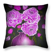 Dark And Delicious Roses In Pink Lilac Throw Pillow