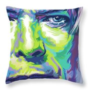 David Bowie Portrait In Aqua And Green Throw Pillow