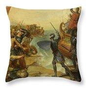 Debarquement De Saint Louis, A Damiette En Egypte, 1249 Throw Pillow