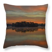 December Sunrise Over Spring Lake Throw Pillow by Beth Sawickie