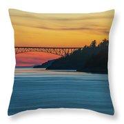 Deception Pass Bridge Sunset Light Throw Pillow