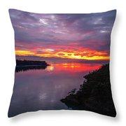 Deception Pass Sunset Landscape Throw Pillow