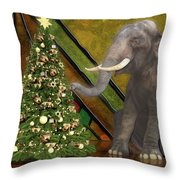Decorating The Perfect Tree Throw Pillow