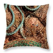 Deep Sea Fishing Nets And Buoys Throw Pillow