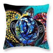 Deep Sea Sea Turtle Throw Pillow