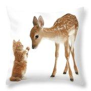 Deer Little Friend Throw Pillow