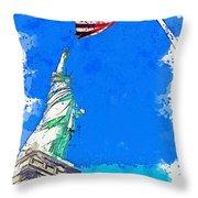 Defending Liberty Watercolor By Ahmet Asar Throw Pillow
