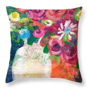 Delightful Bouquet 2- Art By Linda Woods Throw Pillow
