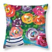 Delightful Bouquet 6- Art By Linda Woods Throw Pillow