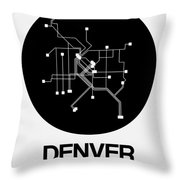 Denver Black Subway Map Throw Pillow