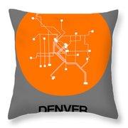 Denver Orange Subway Map Throw Pillow