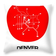 Denver Red Subway Map Throw Pillow