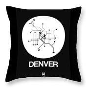 Denver White Subway Map Throw Pillow