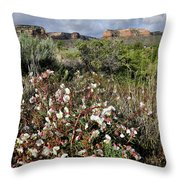 Desert Roses And Colorado National Monument From Red Point Throw Pillow by Ray Mathis