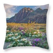 Desert Sand Verbena, Desert Sunflower Throw Pillow