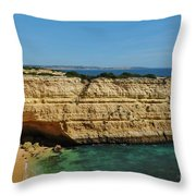 Deserta Beach Scene In Algarve Throw Pillow