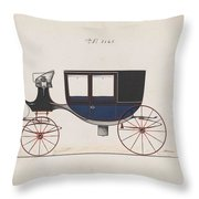 Design For Glass Panel Coach, No. 3133  1875 Throw Pillow