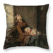 Destitute Dead Mother Holding Her Sleeping Child In Winter, 1850 Throw Pillow