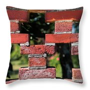 Details Of A Red Brick Wall With Pattern Throw Pillow