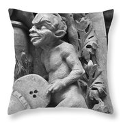 Devil Fanning The Fire, From The Last Judgement Of The Cathedral Of St Etienne In Bourges  Throw Pillow