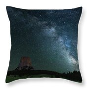 Devil's Tower At Night Throw Pillow by Gary Lengyel