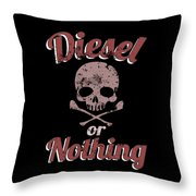 Diesel Or Nothing Truck 4x4 Power Fuel Skull Red Throw Pillow
