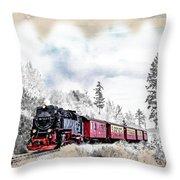 Diesel Powered Passenger Train Throw Pillow