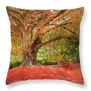 Digital Watercolor Painting Of Beautiful Autumn Fall Nature Fair Throw Pillow