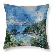 Digital Watercolor Painting Of Beautiful Dramatic Sunrise Landsa Throw Pillow