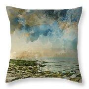 Digital Watercolor Painting Of Beautiful Landscape Panorama Suns Throw Pillow