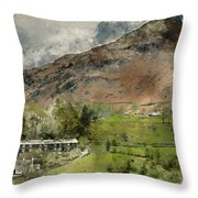 Digital Watercolor Painting Of Beautiful Old Village Landscape N Throw Pillow