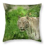 Digital Watercolor Painting Of Beautiful Portrait Image Of Hybri Throw Pillow