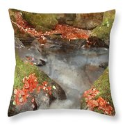 Digital Watercolor Painting Of Blurred Water Detail With Rocks N Throw Pillow