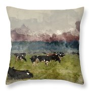 Digital Watercolor Painting Of Cattle In Field During Misty Sunr Throw Pillow