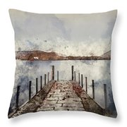 Digital Watercolor Painting Of Landscape Image Of Derwent Water  Throw Pillow